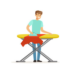 Young smiling man ironing clothes on ironing board vector