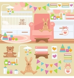 Nursery and baby room interior vector image