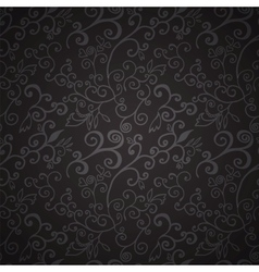 Seamless black floral pattern vector
