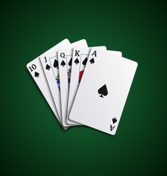 Poker cards flush leaves hand vector