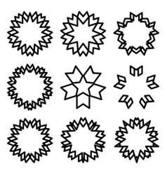 Sunbursts and borders set vector