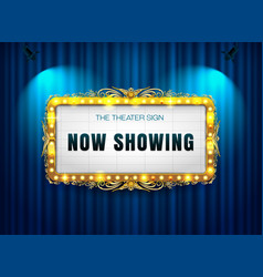 Theater sign gold luis on curtain vector