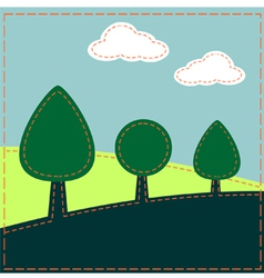 Stitched landscape with trees and clouds vector