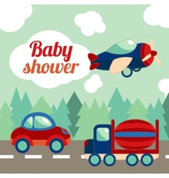 Baby shower toy transport card vector