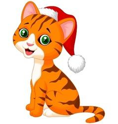 Cute cat cartoon wearing red hat vector image