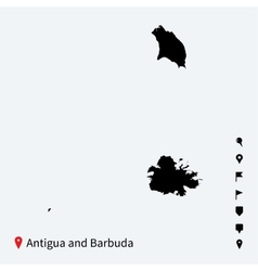 High detailed map of antigua and barbuda with vector