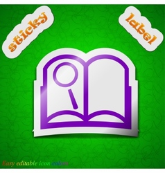 Open book icon sign symbol chic colored sticky vector