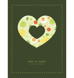 Fresh salad heart symbol frame pattern vector
