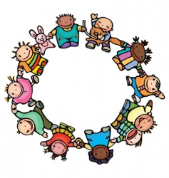 Circle of happy children vector