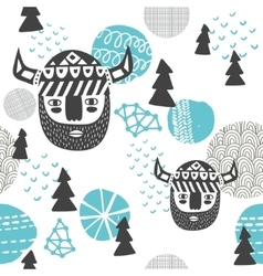 Seamless pattern with vikings faces vector