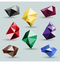 Set of abstract colorful icons polygonal crystals vector
