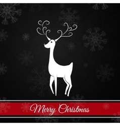 Black christmas postcard whit christmas deer vector