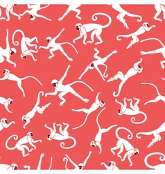 Monkey pink seamless pattern vector