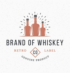 Whiskey bottles vintage retro design elements for vector