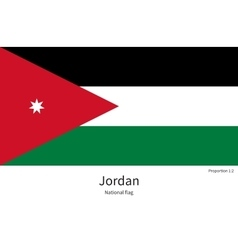 National flag of jordan with correct proportions vector