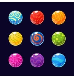 Colorful glossy stones and buttons with sparkles vector