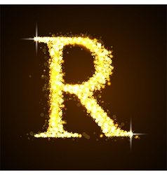 Alphabets r of gold glittering stars vector