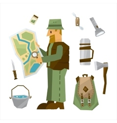 Hiking equipment set vector