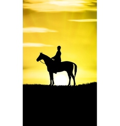 Sunset horse ride vector