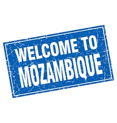 Mozambique blue square grunge welcome to stamp vector