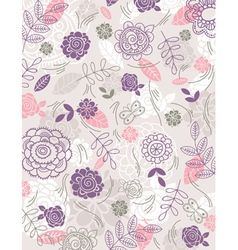 background of hand draw flowers vector image