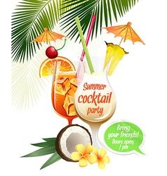 Beach tropical cocktails bahama mama and pina vector