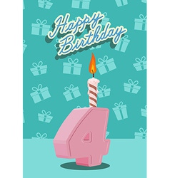 Birthday candle number 4 with flame vector image vector image