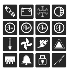 Black car dashboard icons vector