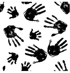black handprints on white background pattern vector image