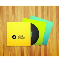 Black vintage vinyl record with blank yellow blue vector