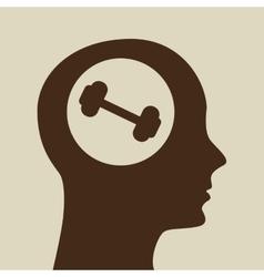 Blue silhouette head barbell icon design vector