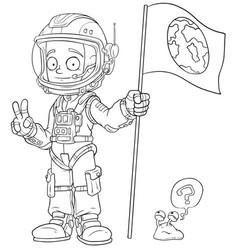 cartoon astronaut in space suit character vector image vector image