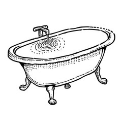 Cartoon image of bath full of water vector