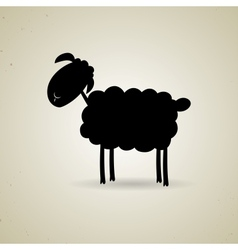 Cartoon silhouette of sheep standing sideways to vector