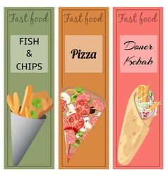 Doner kebab pizza fish and chips vector