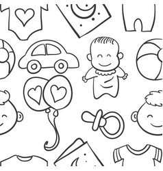 doodle of element baby collection stock vector image