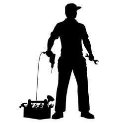 Emergency repairman silhouette vector