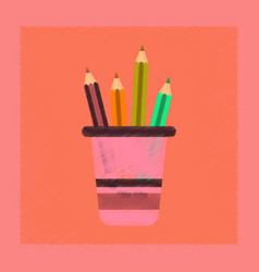 Flat shading style icon pencils in stand vector