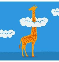 Giraffe on blue sky background vector image