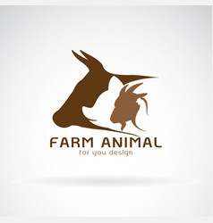group of animal farm label cowpigchickengoat vector image vector image