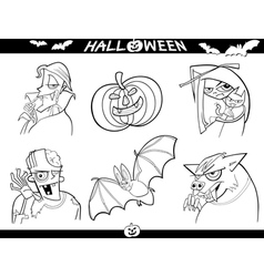 Halloween Cartoon Themes for Coloring vector image