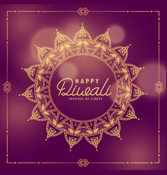 happy diwali indian festival ethnic greeting with vector image