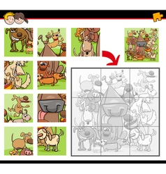jigsaw puzzles with dogs vector image