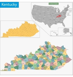 Kentucky map vector image