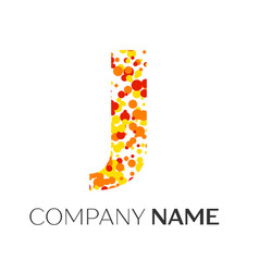 Letter j logo with orange yellow red particles vector