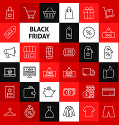 Line black friday icons vector
