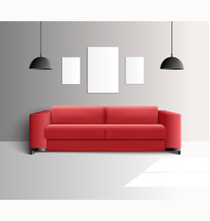living room realistic interior vector image