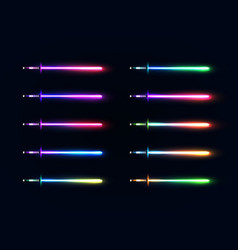 Neon light gradient swords set sabers collection vector