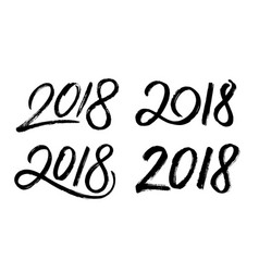 New year 2018 hand drawn numbers set vector