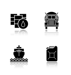 Oil industry black icons set vector